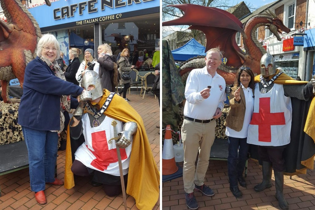 Chamber members with dragon, St George's day Chesham