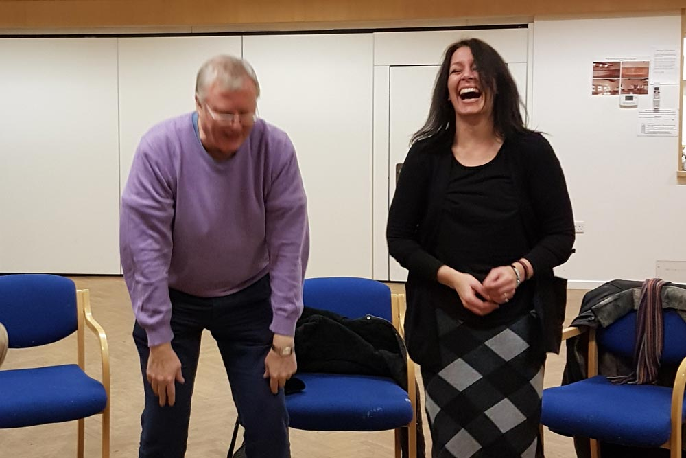 Robert Gibson and Lotte Mikkelsen at Chiltern Chamber Laughter Yoga session