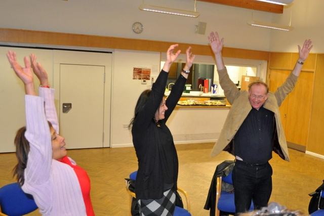 Reaching for the sky at Chiltern Chamber laughter yoga session