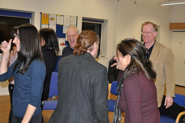 Phone exercise at United Mind Laughter Yoga session for Chiltern Chamber