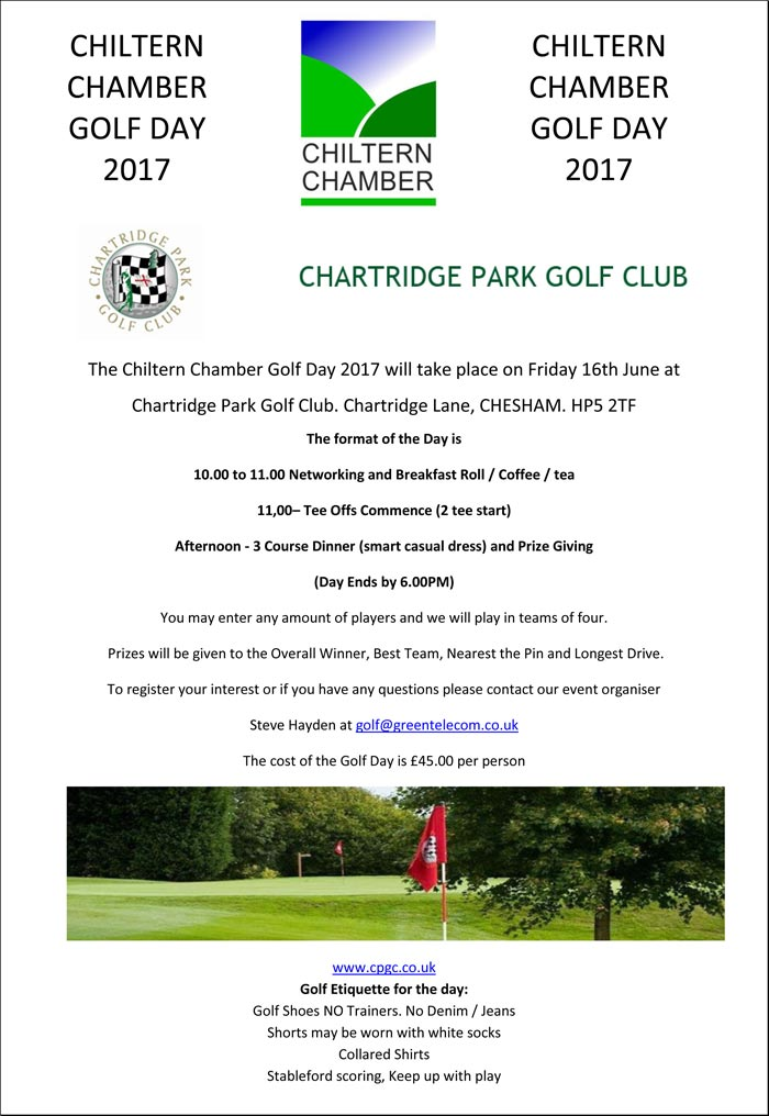 invitation to Chiltern Chamber Golf Day 2017