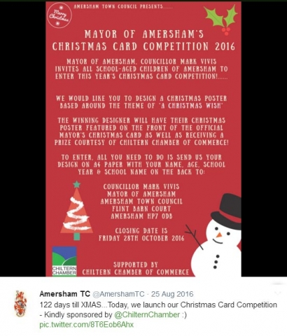Chiltern Chamber sponsored the 2016 Amersham Mayor's Christmas Card competition
