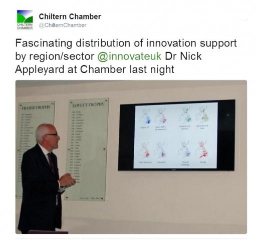 Dr Nick Appleyard of Innovate UK addressing Chiltern Chamber, July 2016