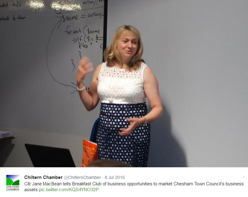 Chesham Town and Chiltern District Councillor Jane MacBean at Chiltern Chamber Breakfast Club