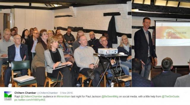 Paul Jackson of BeSeen Marketing addressing Chiltern Chamber social media workshop, November 2016