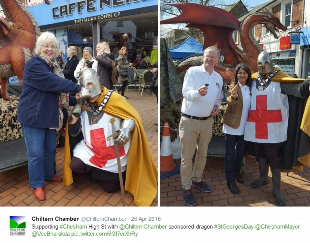 Dragon sourced and sponsored by Chiltern Chamber for St George's Day Chesham 2016