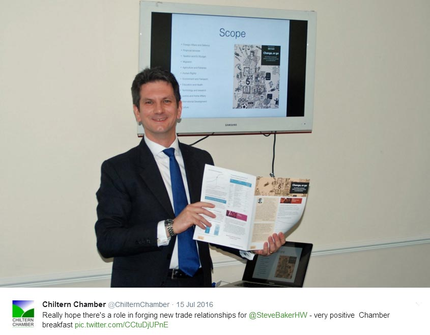 High Wycombe MP Steve Baker at Chiltern Chamber post-BREXIT vote breakfast meeting