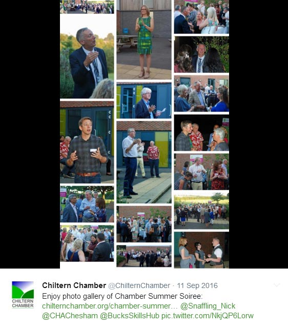 Collage of images from Chiltern Chamber 2016 Summer Soiree