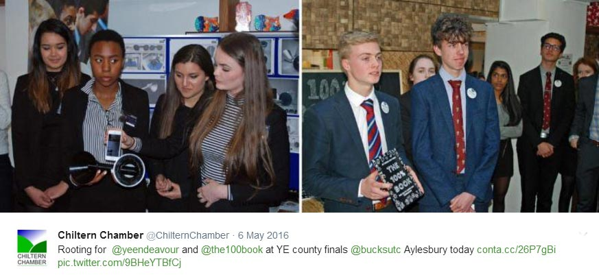 Bucks Young Enterprise winners at reception sponsored by Chiltern Chamber