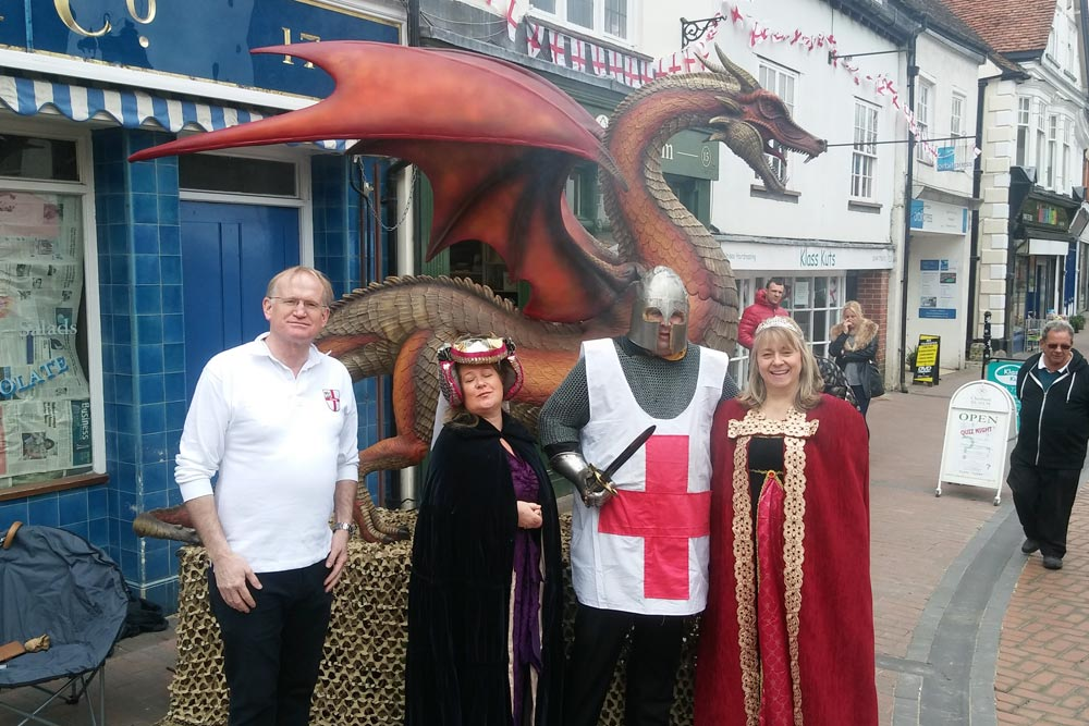 St George's Day dragon Chesham High Street 2017