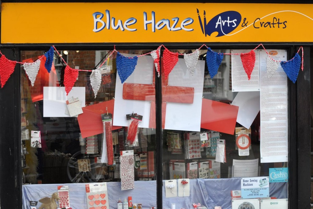 Blue Haze Arts & Crafts window display Chesham St Georges Day 2017