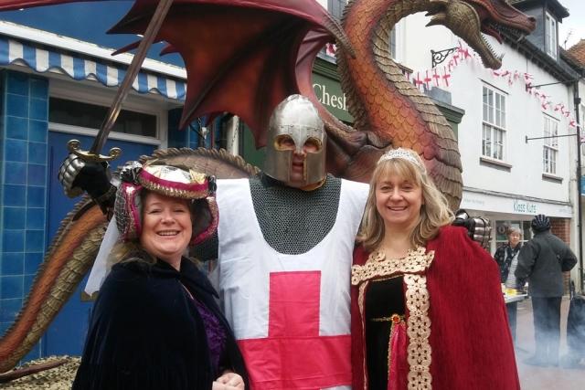 Deputy mayor Emily Culverhouse and Cllr Jane MacBean with St George Chesham 2017