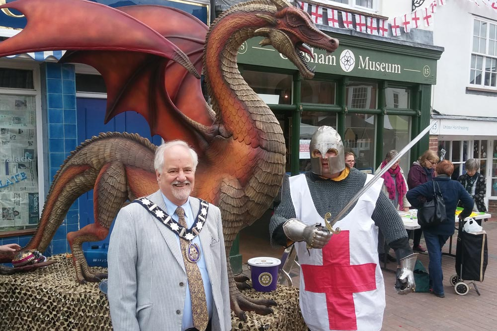 2017 St Georges Day Town Mayor Noel Brown with St George