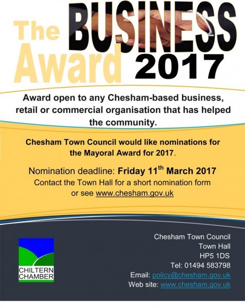 Poster for Chesham Mayoral Awards 2017